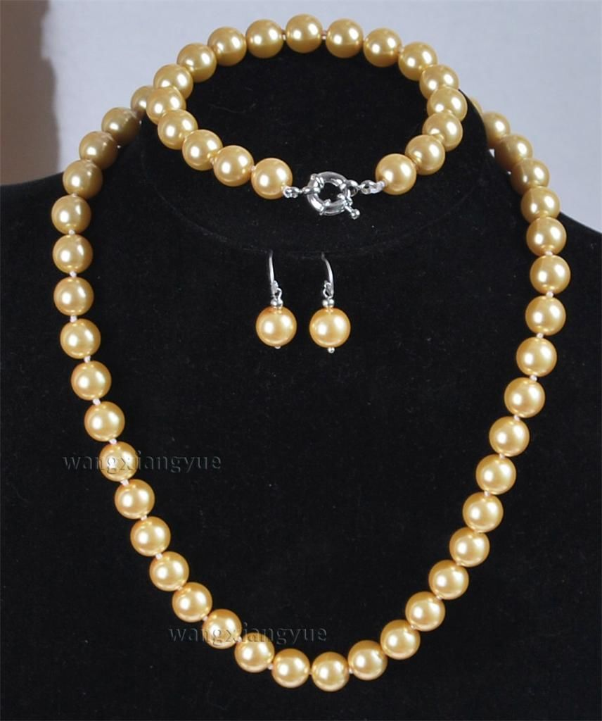 10mm Golden South Sea Shell Pearl Necklace Bracelet