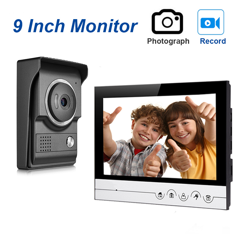 Wired Video Doorphone Intercom System With Monitor,intercom,unlock ,waterproof And IR Night Vision Camera For Home Security