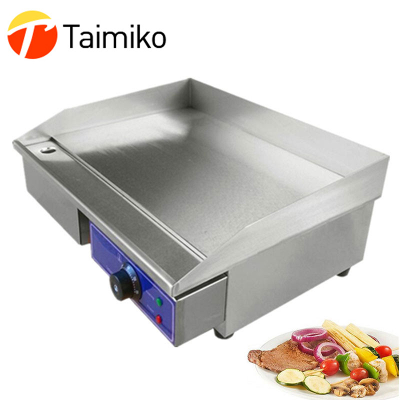 Hot Sale High Quality Newest 220V Commercial Griddle Electric With Thermostat Temperature Control Electric Griddle Flat Plate ru stock electric griddle barbecue griddle machine with half flat plate half groove plate double temperature controllers