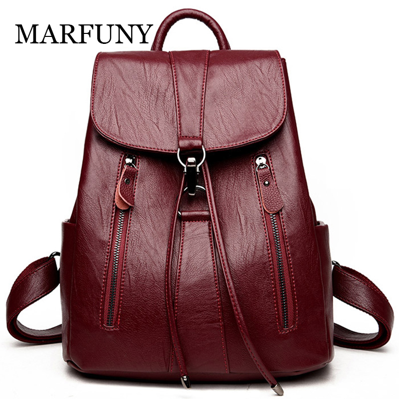 MARFUNY PU Leather Women Backpack Large Capacity Drawstring Backpack Female High Quality Leather Shoulder School Bags Travel Bag sunny shop new flower women drawstring backpack fashion school lady casual print backpack high quality pu leather school bag