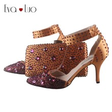 BS038 Custom Made Dark Gold Purple Crystal Italian Shoes With Matching Bag  Set High Heels Pointed Toe Women Shoes Dress Pumps 8ae47f775682