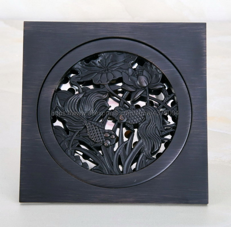 High quality 10cm*10cm black oil rubbed brass art carved floor drain cover shower waste drainer bathroom accessories Nhr048 free shipping wholesale and retail free shipping art carved floor drain oil rubbed bronze shower ground drain cover