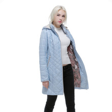 autumn and Winter jacket women Slim Warm coat with hood for Europe and Russia Brand Women's blue jackets  plus size 46-56 v506