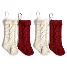 4pcs redwhite socks hanging decorations candy bags knit christmas stockings gift bag party - White Knit Christmas Stockings