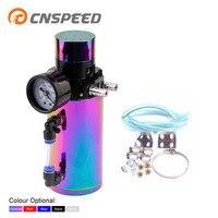 CNSPEED Aluminum Oil Catch Reservoir Breather Tank Can+Vacuum Pressure Gauge Oil Catch Tank Oil Catch Can YC100770