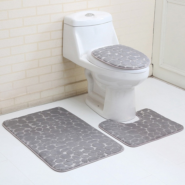 3Pcs Absorption Bathroom Carpet Set Contour Rug Flannel Toilet Anti Slip  Cover Lid Cover Bathroom Mat