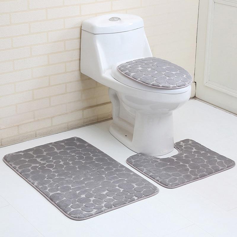 3Pcs Absorption Bathroom Carpet Set Contour Rug Flannel Toilet Anti Slip Cover Lid Cover Bathroom Mat