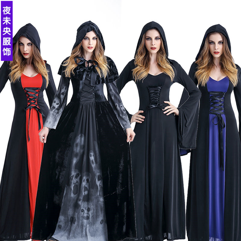 Halloween Scary Cosplay Costumes Hoodie Witch Costume Grim Reaper Women Long Dress Cosplay Clothes Women Halloween Costumes