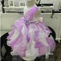 O Envio gratuito de Babados Vestido Da Menina Flor Branca Com Roxo Mix cor Da Menina Vestidos de Festa Para As Crianças 2-10 Anos Vestidos de Glamour C165