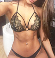 2016 New porn women sexy lingerie hot Sexy black lace bikini bra+g-thongs hollow erotic lingerie set halter sexy costumes