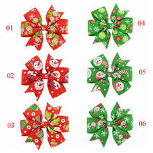 Santa Handmade Bow Hair Clip Alligator Clips Girls Christmas Hairgrips Bows Ribbon Kids Sides Accessories(China)