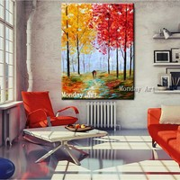 Handpainted Abstract Forest Autumn Scenery Oil Painting Abstract painting Wall Picture for Living Room decorative wall picture