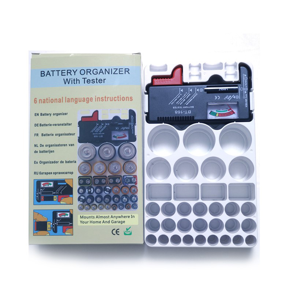 ATTKOO Batteries Storage Box Case Organizer For AA AAA 9V AG CR C D with BT168 Battery Tester Bateria Capacity Detector BT-168