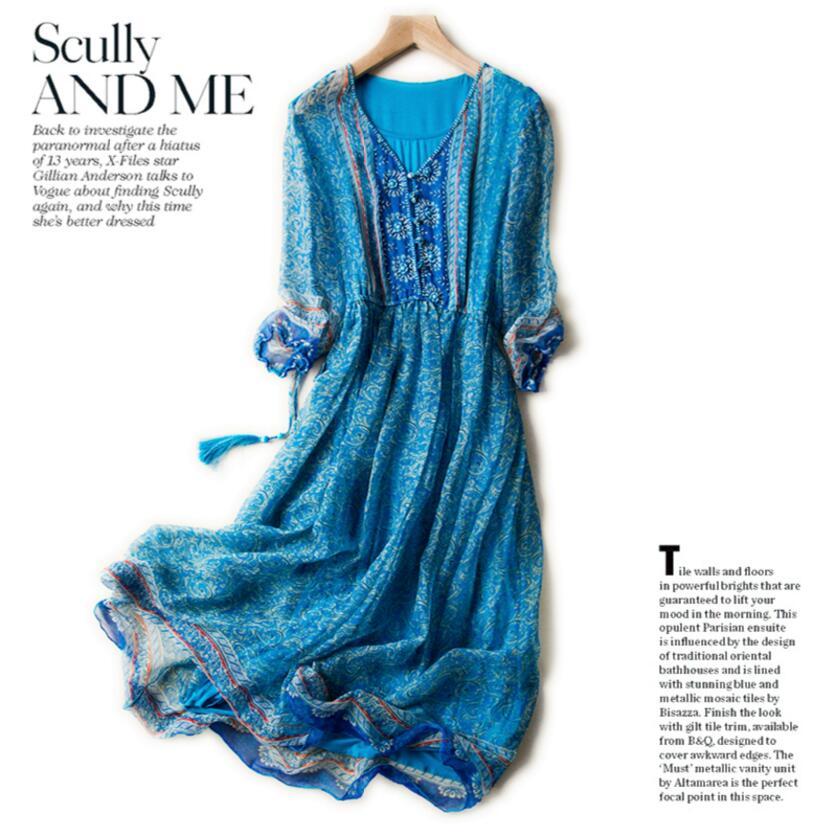 Women 100 Silk dress Beach dress 100% Natural Silk Elegant Blue Print dress V neck Holiday summer dresses Hot Free Shipping