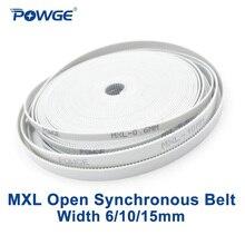 POWGE PU MXL открытый синхронный ремень Ширина 6 мм 10 мм 15 мм Шаг 2,032 мм MXL Ремень ГРМ полиуретановый со стальной PU ремень MXL шкив