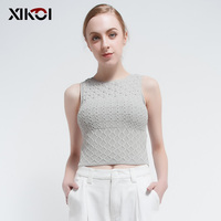 Fashion Solid Sexy Crop Tops Sweater Women Jumper Knitwear Sleeveless O Neck Casual Cropped Top Pullovers Sweaters Woman
