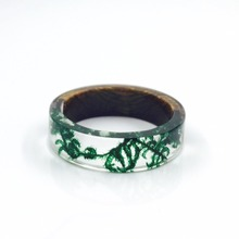 Handmade Wood and Resin Rings Green Moss Transparent Rings for Women Men Vintage Jewelry Bague Femme Best Gifts TN-0137 special antique handmade necklace suit professional wood resin production special jewelry gifts for men and women