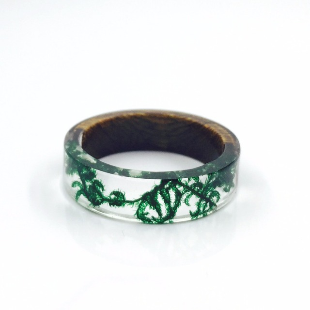 Handmade Wood and Resin Rings Green Moss Transparent Rings for Women Men Vintage