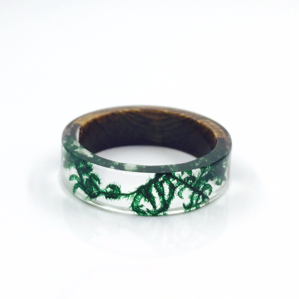 Handmade Wood and Resin Rings Green Moss