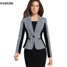 Spring Autumn Winter High Quality Fashion Casual Jacket Long Sleeve Grid Suit Ladies Blazers Work Wear Women Slim Blazer Coat B9