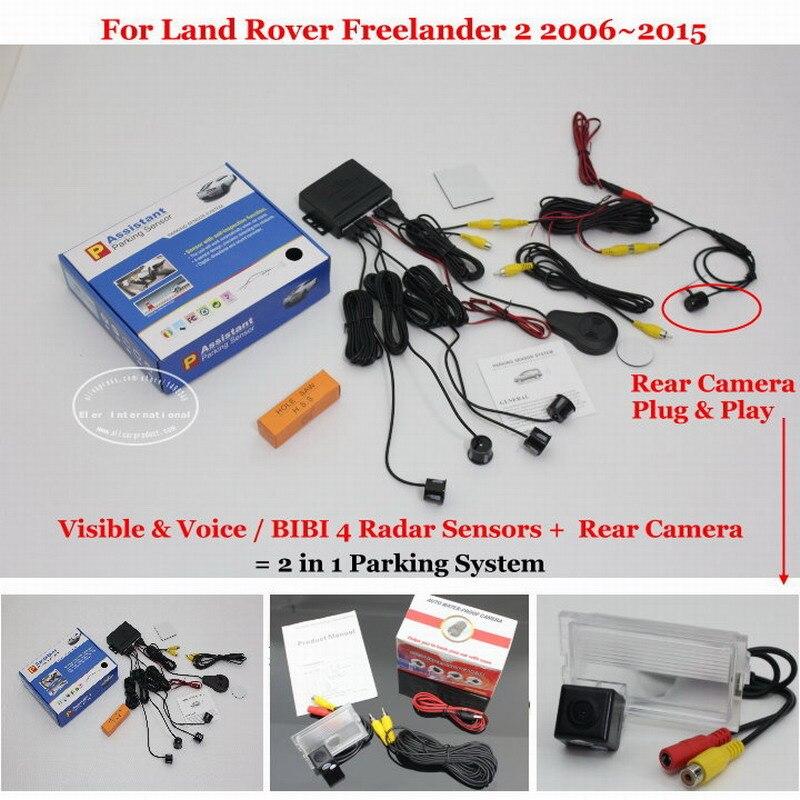 ФОТО For Land Rover Freelander 2 2006~2015 Car Parking Sensors + Rear View Camera = 2 in 1 Visual Alarm Parking System