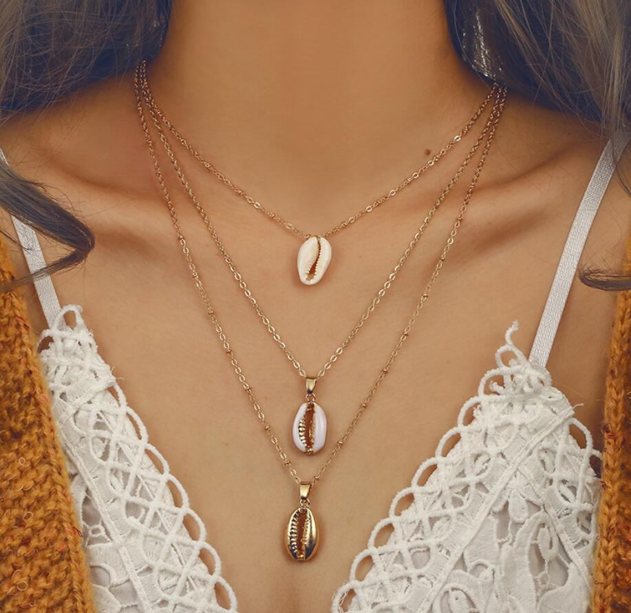 SMJEL Gold Color Natural Shell Necklace for Women Simple Seashell Ocean Beach Bohemian Three Layers Necklace Jewelry Gift in Choker Necklaces from Jewelry Accessories