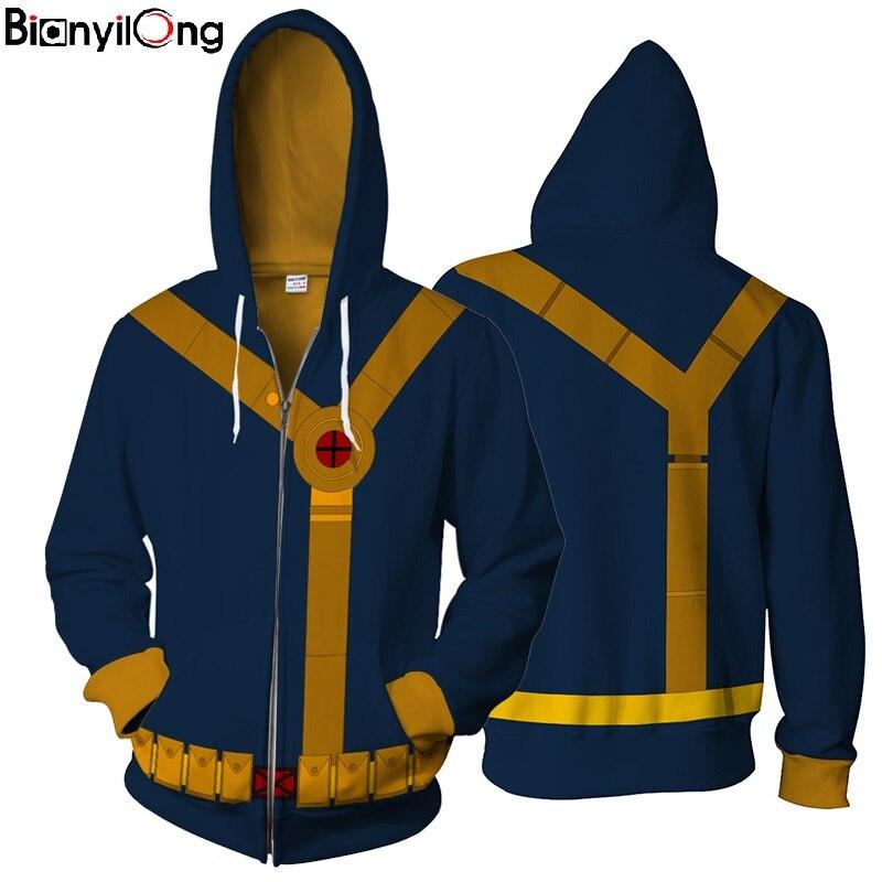 New Fashion Hoodie Scott Summers Zipper Hoodie Cyclops Hoody With The Same Clothes Superhero Hoodies Zipper Outerwear