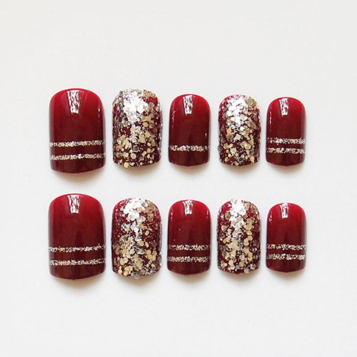 24 Pcs/ Set Fashion Red Fake Nail With Glitter Acrylic Full Cover ...