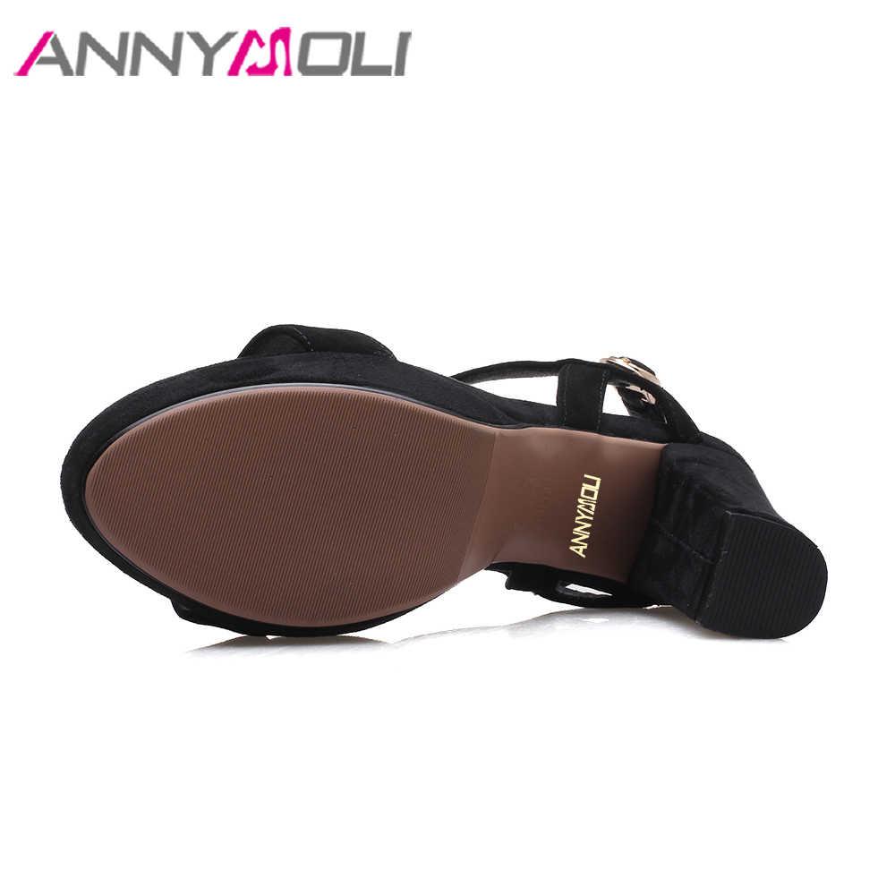 ANNYMOLI doğal deri kadın sandalet platformu yüksek topuklu t-kayışı ayakkabı siyah 2018 yaz kalın topuk parti ayakkabıları kadın boyutu 39