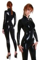 Fashion Women Sexy Black Rubber Catsuits Fetish Latex Bodysuits Costume Front Zipper for Adult Plus Size Jumpsuit