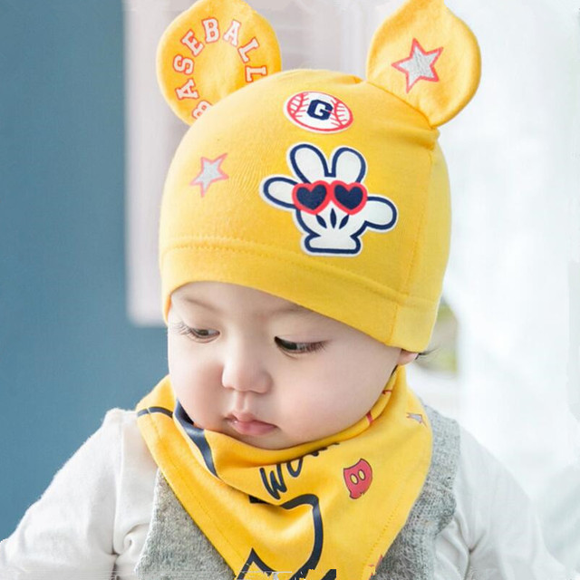 2018 new baby hat girl pink yellow cotton hat infant bandana bibs saliva  towel turban fitted 3dba7caf22a
