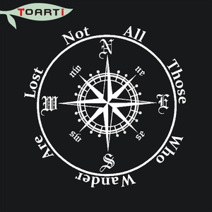Image 2 - Not All Those Who Wander Are Lost Compass Car Sticker Reflective Removable Pvc Art Words Door Decor Decals Adhesive