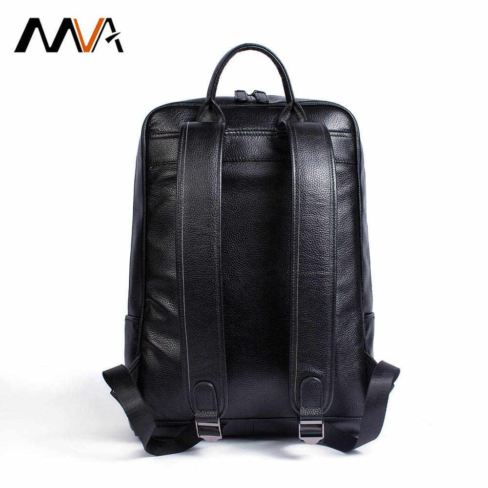 MVA Женский Мужской рюкзак из натуральной кожи Школьные сумки модный мужской ноутбук женский рюкзак большой емкости Студенческая деловая сумка
