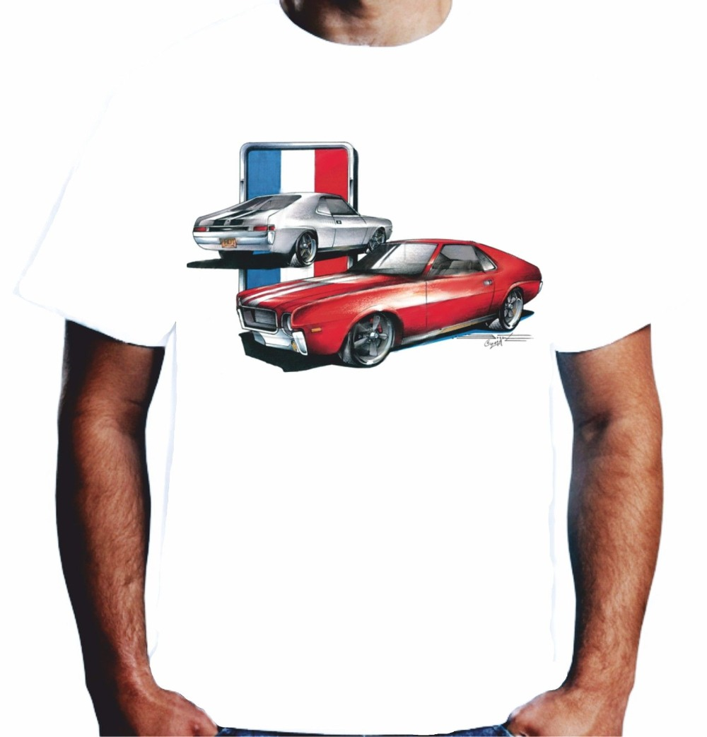 Mens T-Shirt Amx Amc Javelin Muscle Car Hot Rod American V8 Pos-437 Short Sleeve Crew Neck Fashion ...