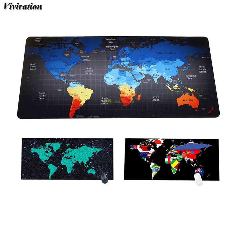 World Map Print Rubber Mouse Pad Gaming Mouse Pad Viviration Laptop Keyboard Mouse Mat Pad XL 900*400mm Desk Mat For CS Dota 2
