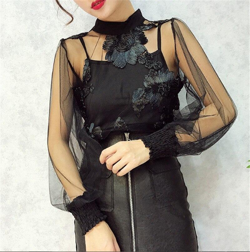 562b83102 [Alphalmoda] 3D Flowers Lace Shirt Perspective Gauze Basic Shirt  Long-sleeve Top Spaghetti Strap 2pcs Sets / BestDealPlus
