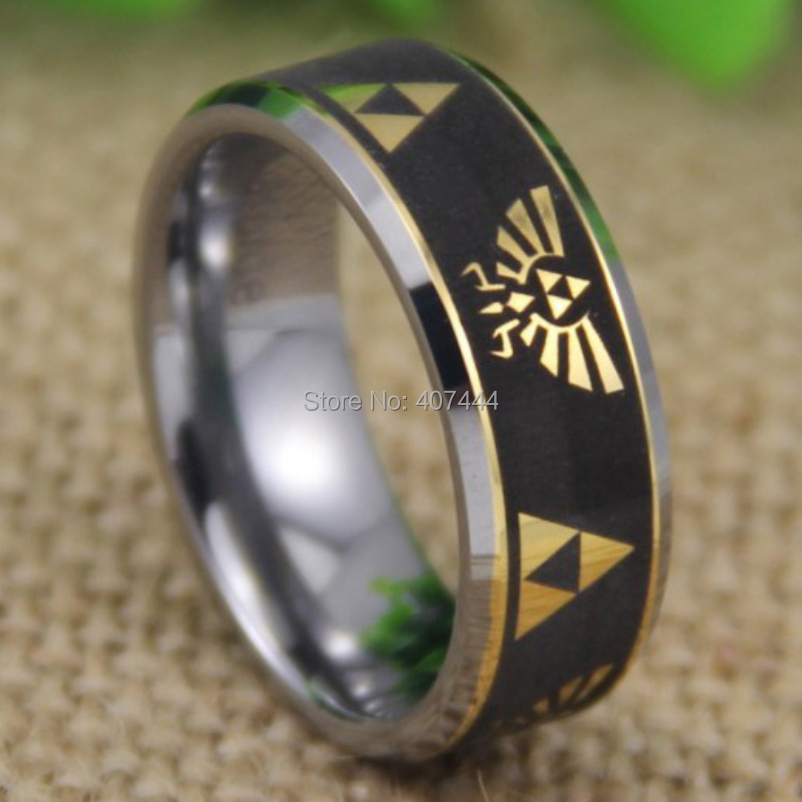 free shipping ygk jewelry hot sales 8mm legend of zelda black engraved golden symbols new tungsten - Zelda Wedding Ring