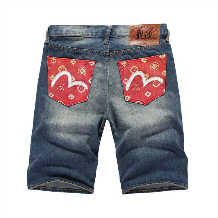 Evisu Men Jeans Male Brand Denim Short Pants Mens Biker Jogger Jeans Casual Pocket Decoration Skateboard Pants Cowboys 6179