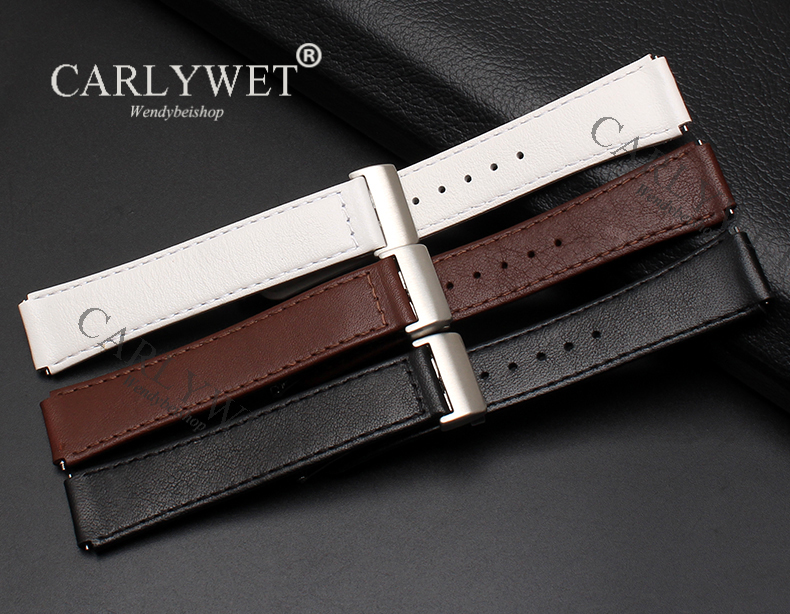 CARLYWET 15mm Released Spring Bar Leather Watch Band Strap Smart Wrist Bracelet with Deployment Clasp Black Brown For Huawei B2 qs80 smart bracelet brown