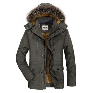 Image 2 - Kosmo masa 2018 algodão com capuz jaqueta de inverno masculino quente 6xl longo parka casacos com capuz homem casacos de pele casual para baixo parkas mp012