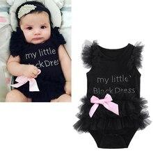 Mode Pasgeboren Kids Meisje Zuigeling Kant Decoratie Zwarte Tutu Kleding Outfits Romper Jumpsuit Bodysuit