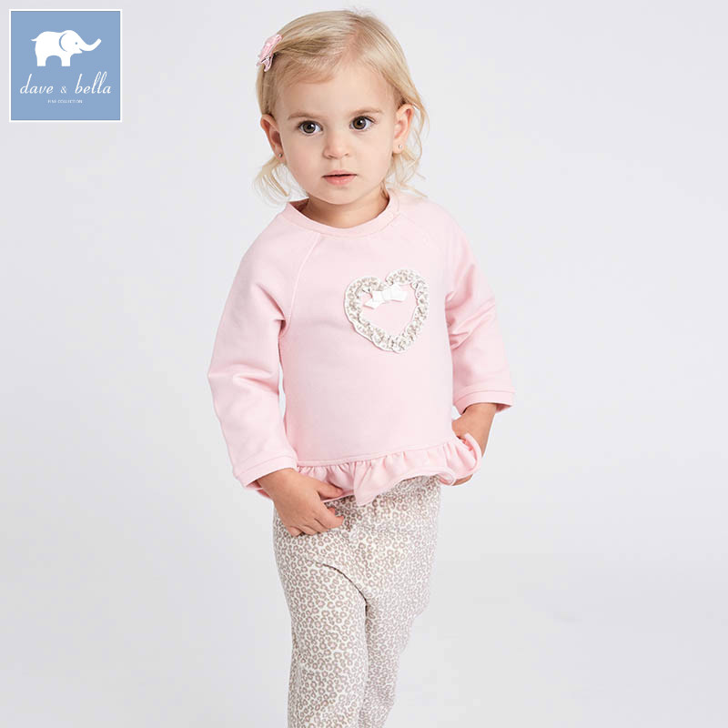 DB7030 dave bella spring baby girls clothing sets kids pink leopard print suit children toddler outfits high quality clothes pink and red children sets baby girls