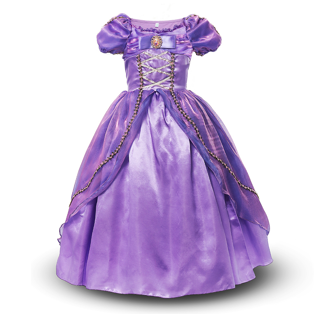Girls Princess Rapunzel Dress Cosplay Costume Puff Sleeve Deluxe Ball Gown Tangled Clothes Kids Halloween Birthday Party Dress adult men s tangled flynn rider cosplay boots shoes halloween cosplay prop custom made