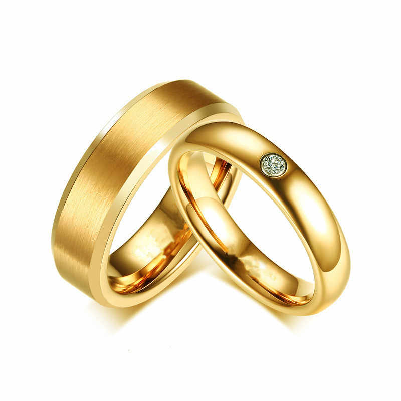 Stainless Steel Rings For Men Crystals Jewelry Ring For Women Couple Rings Simple Rose Gold Tungsten Ring For Women  Engagement