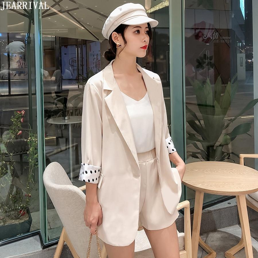 2019 Summer Suit 2 Pieces Set Tracksuit For Women Loose Blazer And Elastic Waist Short Pant Suits Female Office Suit