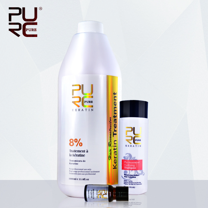 PURC Shampoo for keratin hair treatment hair care set hot sale 1000ml chocolate 8% formalin keratin repair damaged hair кабели межблочные аудио tchernov cable classic mk ii ic rca 1 65m