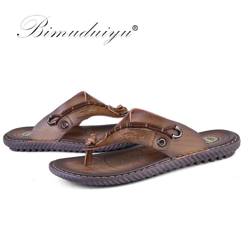 BIMUDUIYU Flip Flops de brand de lux Soft confortabile din piele din - Pantofi bărbați - Fotografie 4