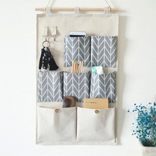 Wall-Mounted Storage Bag Cotton And Linen Waterproof Bedroom Home Office