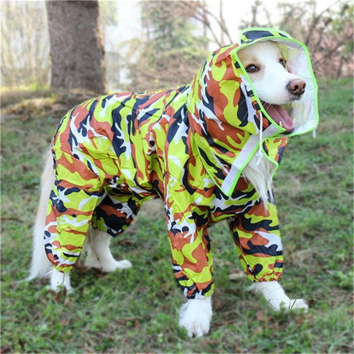 Waterproof Dog Raincoat Small Medium Large Dog Rain Jacket Hooded Adjustable Spring Pet Clothes Safety Overalls Full Range Sizes