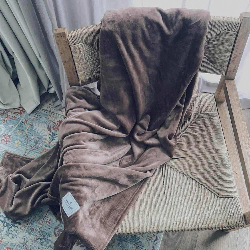 2018 Luxury Coffee Simple Soft Double-side Print Blanket Little Throws Coral Fleece Polyester Plaids Bedsheet Scandinavian
